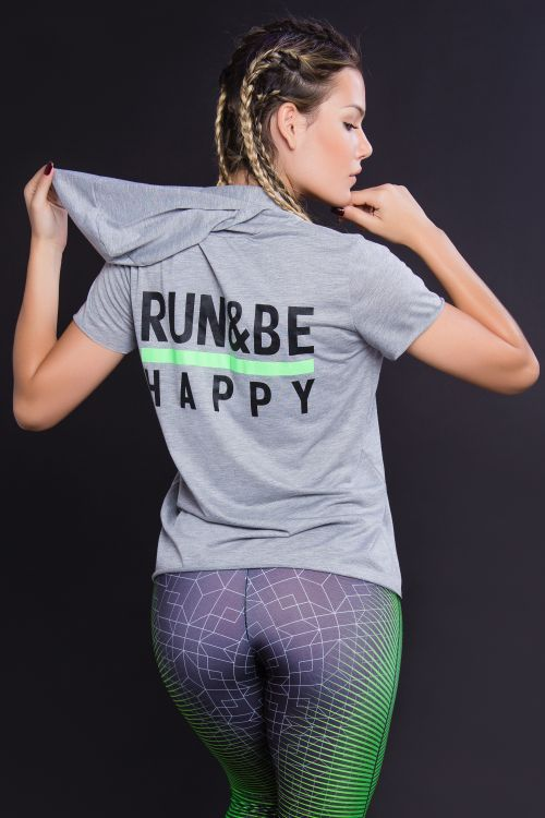 Blusa Fitness Feminina Cinza com Capuz Run Happy