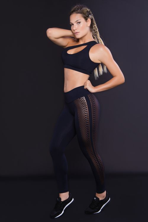 Calça Legging Feminina Athletic com Silk Bronze