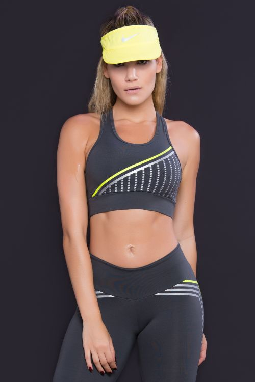 Top Fitness Feminino Cinza Square