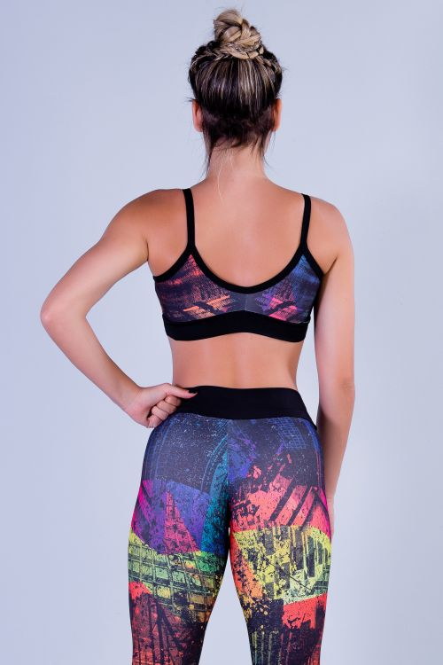 Top Fitness Feminino com Estampa Sublimada Manhattan