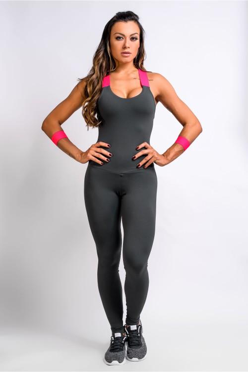 eda035746 Macacão Fitness Feminino Cinza Savage
