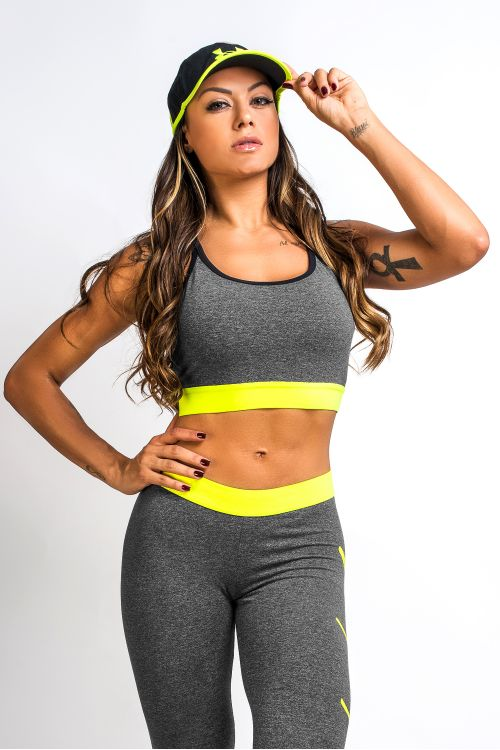 Top Fitness Feminino Mescla e Neon Next Level