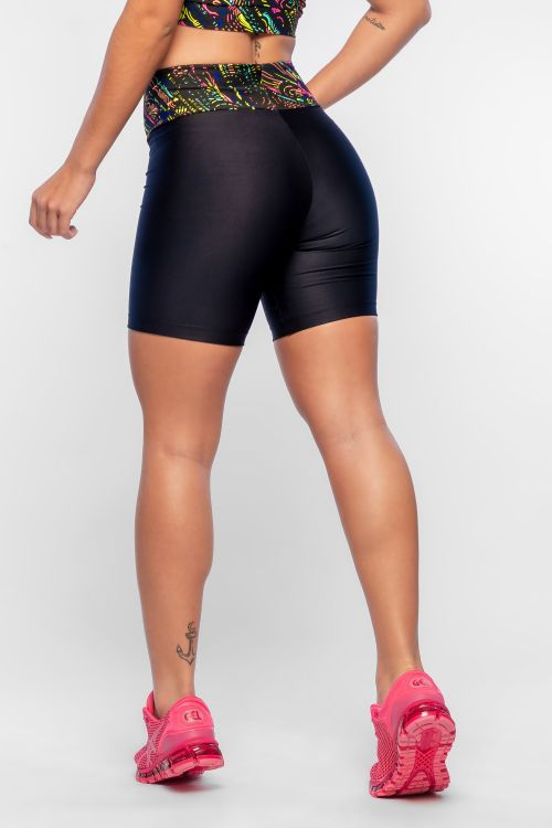 Bermuda Fitness Feminina Estampada Color Black