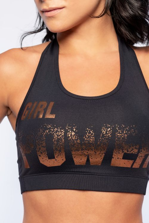Top Fitness Feminino Preto Grl Power