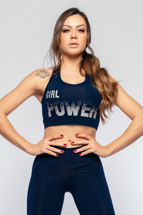 Top Fitness Feminino Azul Grl Power
