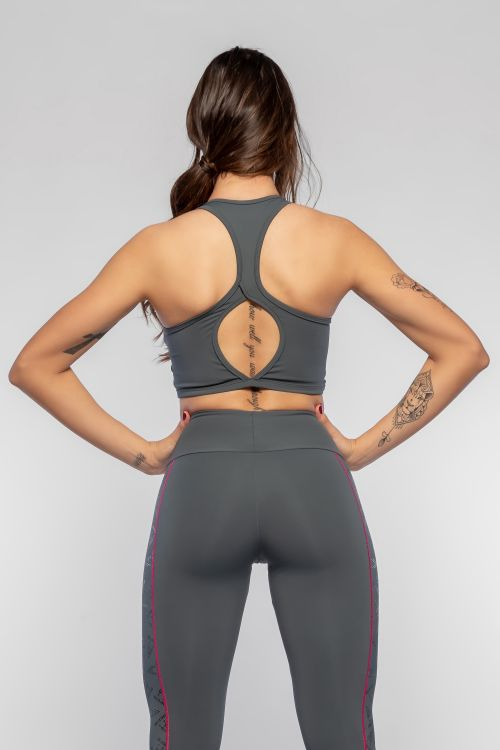 Top Fitness Feminino Cinza Fit Evolution
