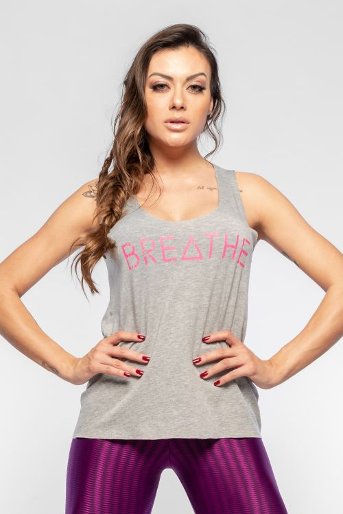 Regata Fitness Feminina Cinza Breathe