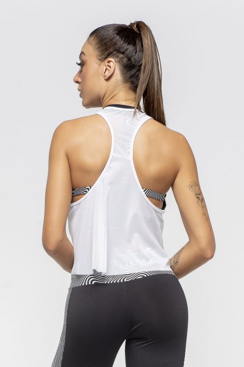 Regata Fitness Feminina de Tule Branco Shadow